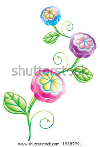 3D Funny Flower, vector layered. - stock vector
