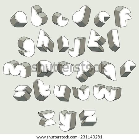 3d futuristic font, geometric dimensional letters set, monochrome alphabet for design. - stock vector