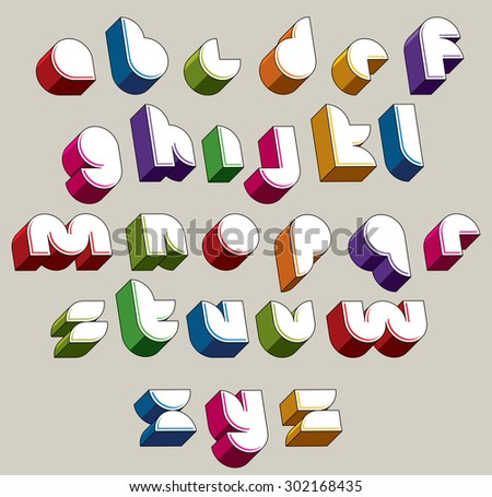3d futuristic font, vector bright and colorful letters, geometric dimensional alphabet, best for use in advertising and web design. - stock vector