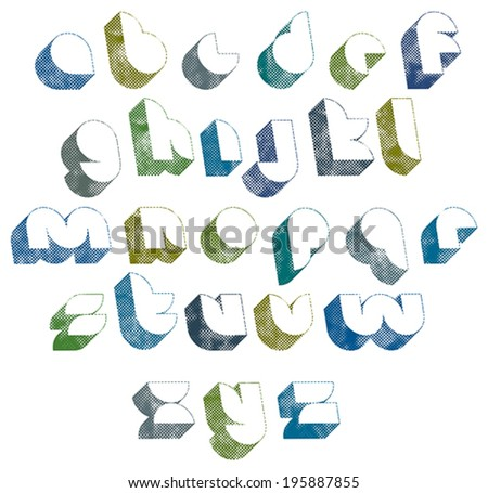 3d futuristic font with halftone dots texture, old letters alphabet. - stock vector