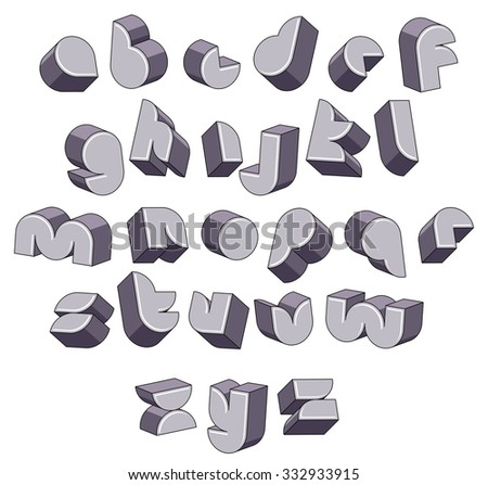 3d futuristic round font, monochrome three-dimensional alphabet, geometric letters for design. - stock vector