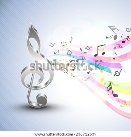 3D g-clef with musical notes and colorful waves on stylish seamless blue background. - stock vector