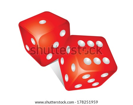 3d game dice isolated on white background - stock vector