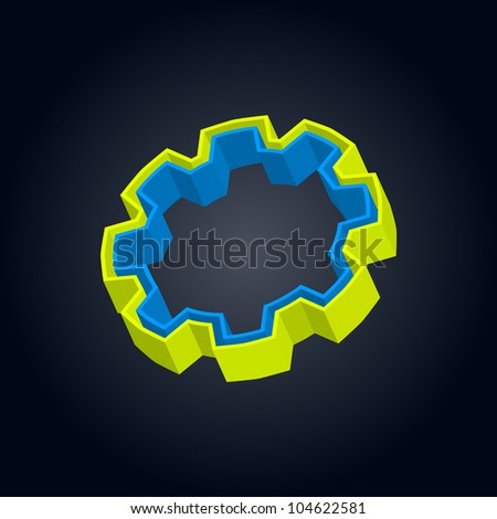 3D gear with green and blue layers - stock vector