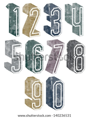 3d geometric numbers with halftone dots textures, stylish simple shaped numerals for design. - stock vector