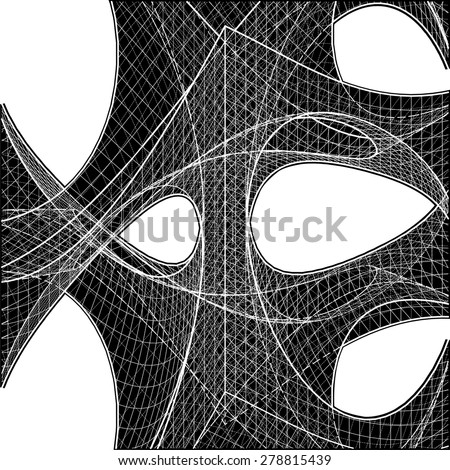 3D Geometric Organic Wireframe Shape Vector 51 - stock vector