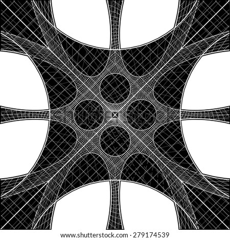 3D Geometric Organic Wireframe Shape Vector 57 - stock vector