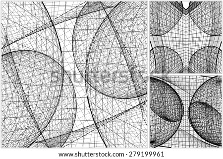 3D Geometric Organic Wireframe Shape Vector 64 - stock vector