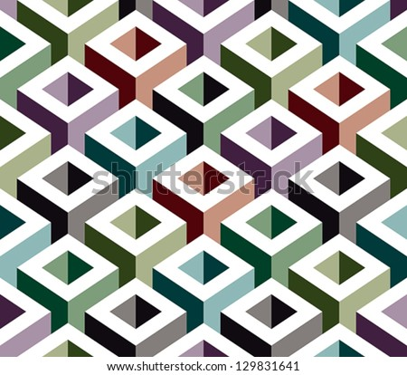 3D geometric seamless pattern, boxes vector background. - stock vector