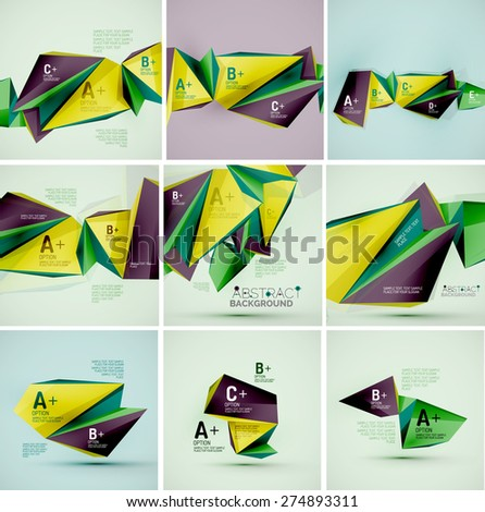 3d geometric shapes in the air. Vector abstract background. Business futuristic presentation layout or web interface or app cover. Universal composition - stock vector