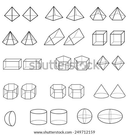 3d geometric shapes vector  - stock vector