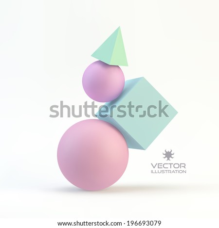 3d geometrical composition. Abstract vector illustration.  - stock vector