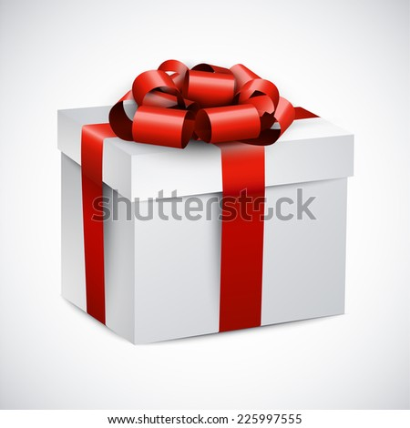 3d gift box with red bow. Realistic vector illustration.