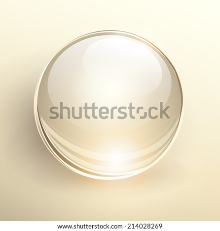 3D glass ball on light background, vector. - stock vector