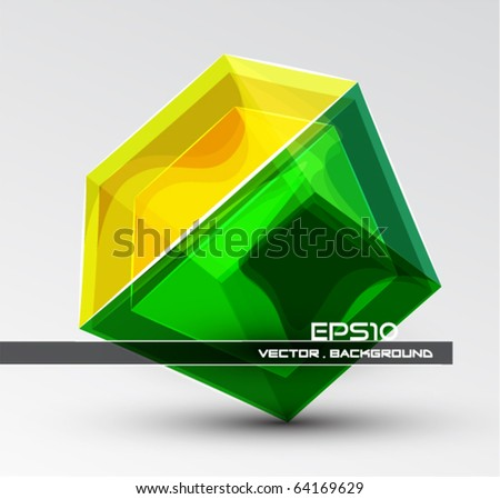 3D Glass cube. Vector background - stock vector