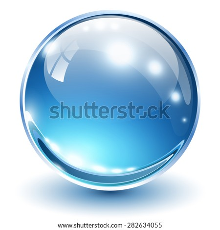 3D glass sphere blue, vector illustration. - stock vector