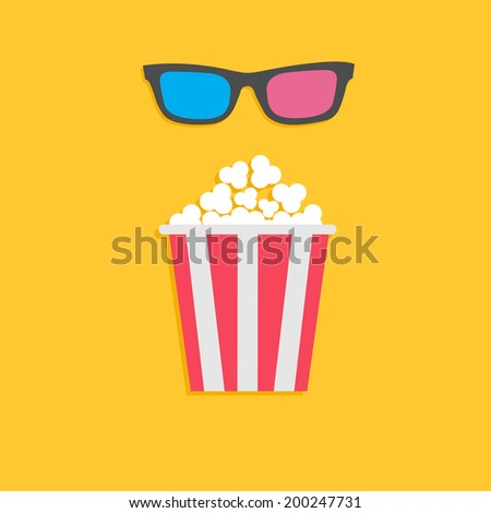 3D glasses and big popcorn. Cinema icon in flat dsign style. Vector illustration - stock vector