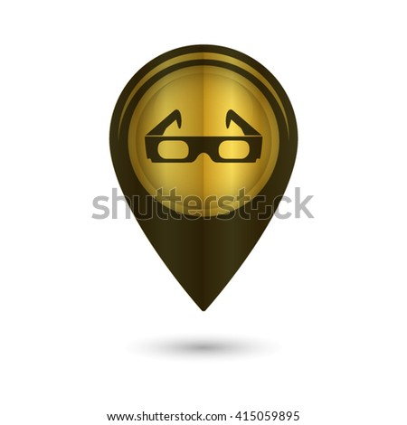 3d glasses - black vector icon; golden  map pointer - stock vector