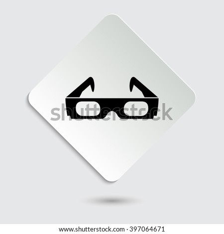 3d glasses - black vector icon on  a paper button - stock vector