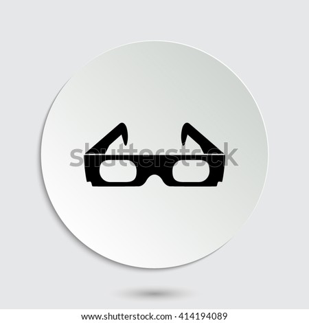 3d glasses - black vector  icon with shadow - stock vector