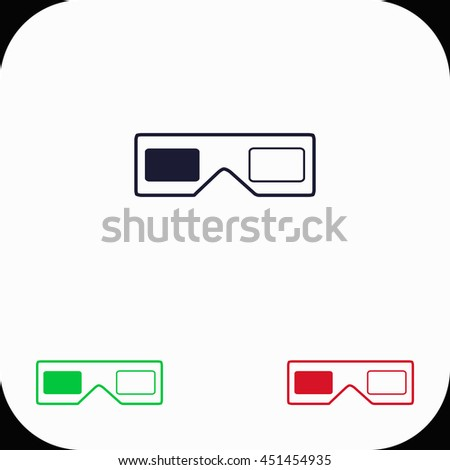 3d glasses Illustration set. Blue, green, red icon. - stock vector