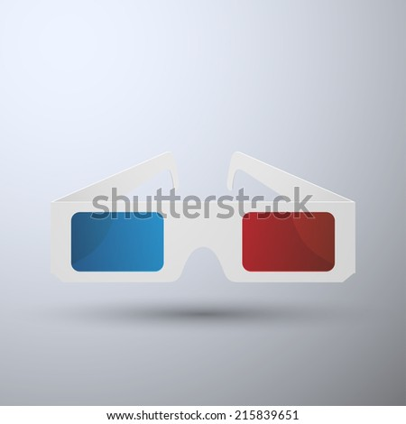 3D glasses isolated on background, vector illustration - stock vector