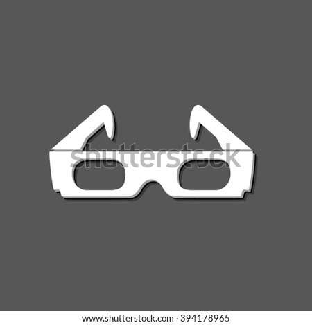 3d glasses - white vector icon  with shadow - stock vector
