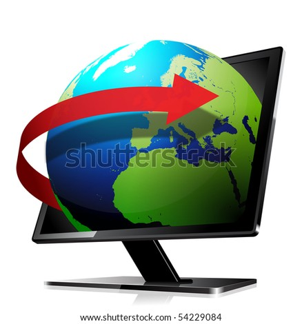 3d globe, leaving the screen with an orbit arrow - stock vector