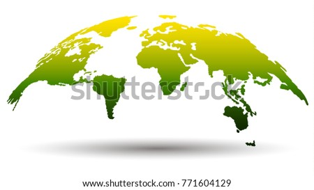 Image vector world map stock vector 273764192 shutterstock 3d globe map in modern flat design green yellow color nature friendly eco gumiabroncs Images
