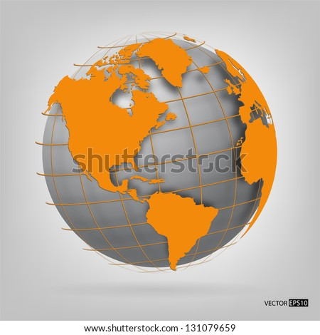 3d globe of the world. EPS10 vector illustration. - stock vector