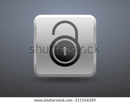 3d glossiness button icon of unlock
