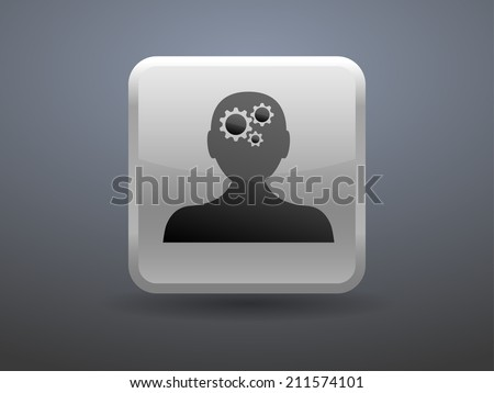 3d glossiness button Thinking icon - stock vector