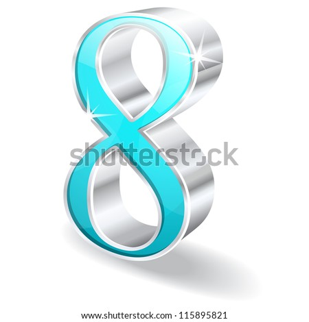 3d Glossy Eight 8 Number Vector - stock vector