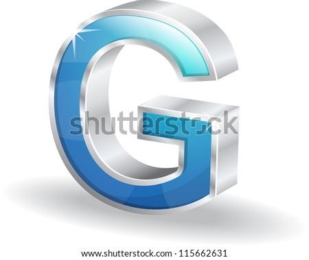 3d Glossy G letter Vector - stock vector