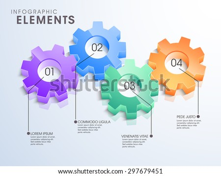 3D glossy gears infographic elements in different colors for your business reports and financial data presentation. - stock vector