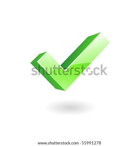 3d glossy green ok - stock vector