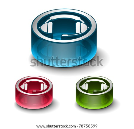 3d glossy headset web icon, includes 3 color versions. - stock vector