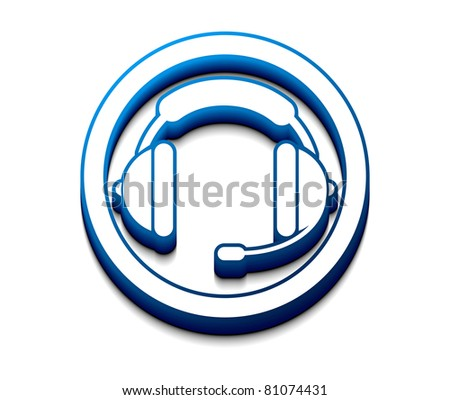 3d glossy headset web  icon, vector illustration. - stock vector