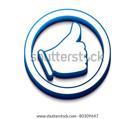 3d glossy Like/thumbs up symbol, - stock vector
