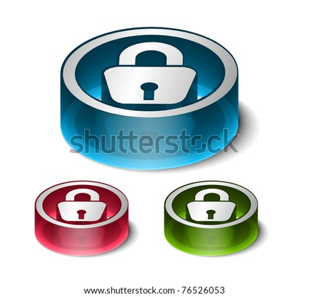 3d glossy lock icon, blue isolated on black background. - stock vector