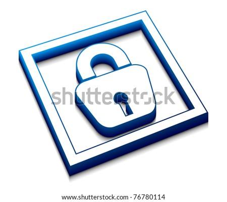 3d glossy  lock web vector icon design. - stock vector