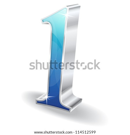 3d Glossy One 1 Vector - stock vector