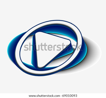 3d glossy play button symbols, blue isolated on black background. - stock vector