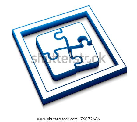 3d glossy puzzle vector icon design. - stock vector