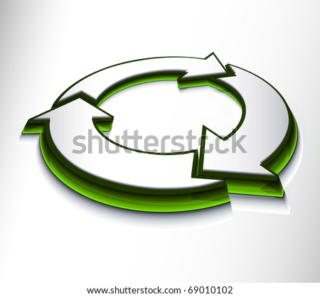3d glossy recycle icon design on white background. - stock vector