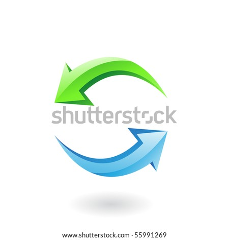 3d glossy refresh icon, green and blue arrows isolated on white - stock vector