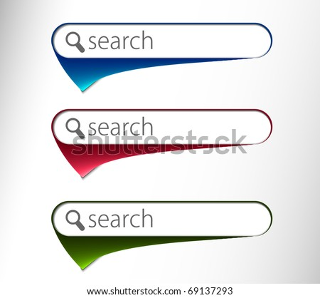 3d glossy search icon, three multi color isolated on white background - stock vector