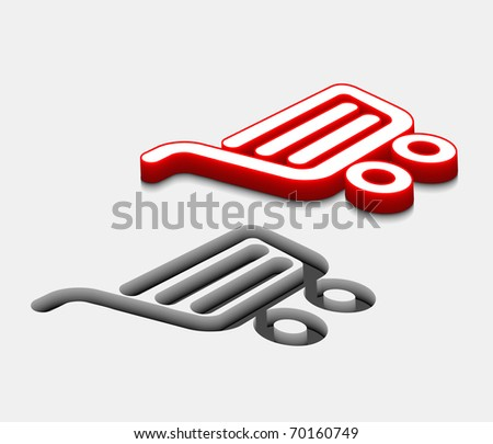 3d glossy shopping icon, red isolated on gray background.