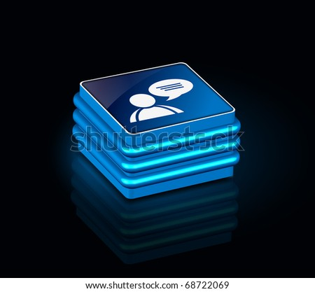 3d glossy speech bubbles icon, blue isolated on black background. - stock vector