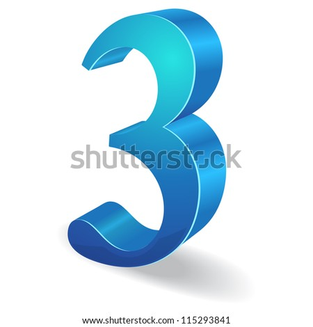 3d Glossy Three 3  Number  Vector - stock vector